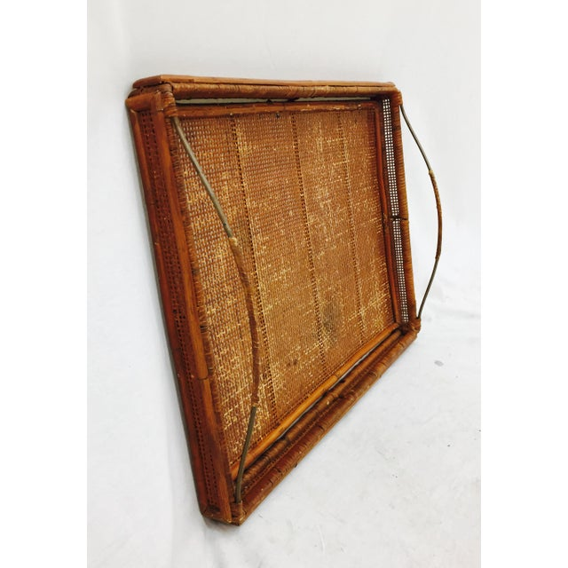 Vintage Woven Cane & Brass Serving Tray For Sale - Image 4 of 9