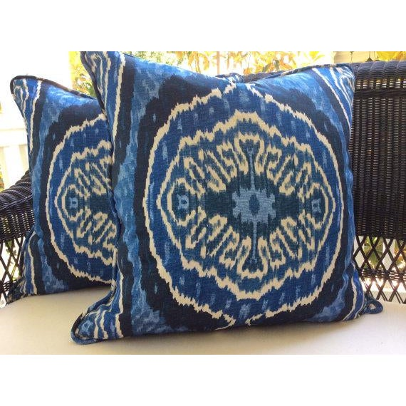Listing is for a pair of gorgeous zippered pillow covers in varying shades of indigo, blue denim, and cream linen. The...