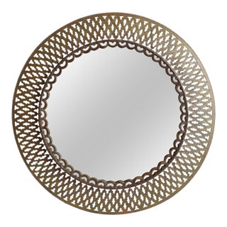 Vintage Brass Round Mirror For Sale