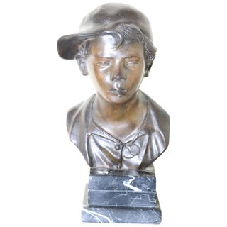 19th Century Italian Sculpture in Bronze Young Boy Signed G. De Martino For Sale