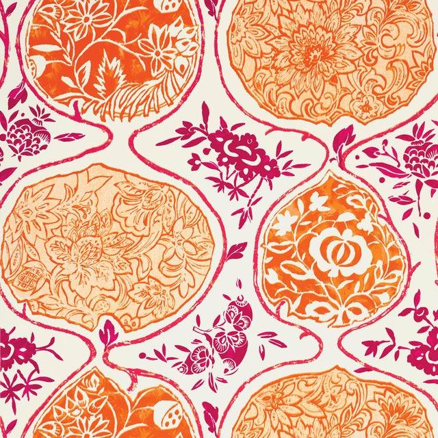 Asian Sample - Schumacher Katsugi Wallpaper in Tangerine & Berry For Sale - Image 3 of 3