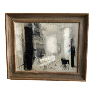 Black and White Abstract Painting by Graham Harmon For Sale
