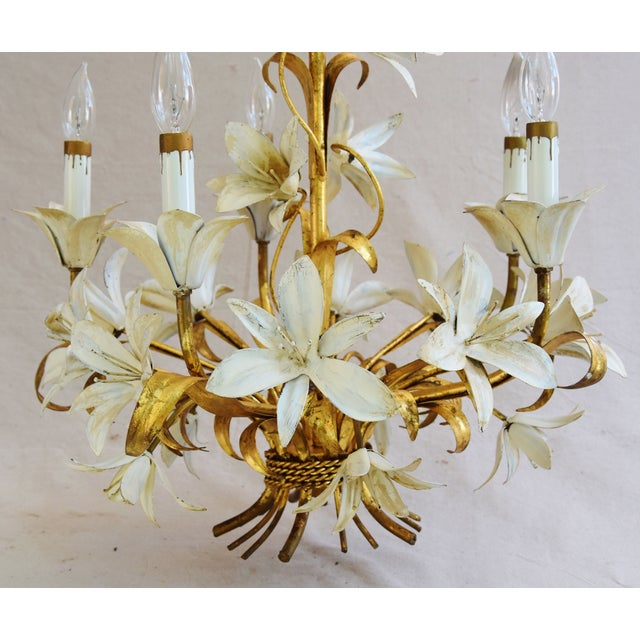 Vintage Five-Arm/Light Italian Gold Gilt Lily Tole Chandelier For Sale - Image 10 of 11