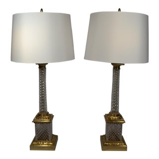 Pair of Cut Crystal Column Lamps with Ormolu Mounts circa 1930-1940 For Sale