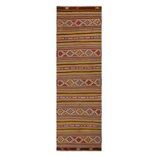Vintage Helvaci Yellow Multicolor Wool Kilim Rug - 2′7″ × 8′8″ For Sale