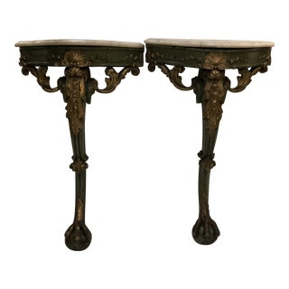 Continental Green Painted and Parcel Gilt Consoles With Ball and Claw Feet and Marble Top - a Pair For Sale