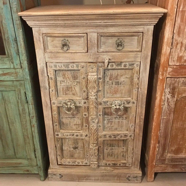Boho Chic Small Whitewashed Cabinet For Sale - Image 3 of 3
