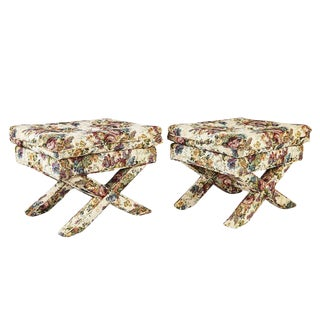 Pair Mid-Century Modern Upholstered X-Base Benches Footstools For Sale