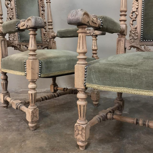 Wood Pair 19th Century Black Forest Stripped Oak Armchairs For Sale - Image 7 of 11