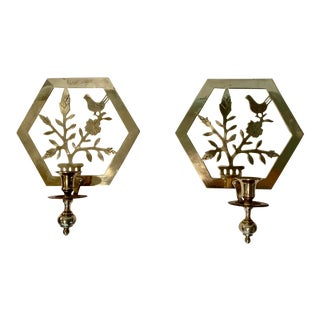 Vintage Brass Botanical Candle Sconces - Set of 2 For Sale