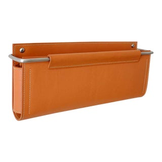 Moses Nadel Wall Pocket in Saddle Leather and Stainless Steel For Sale