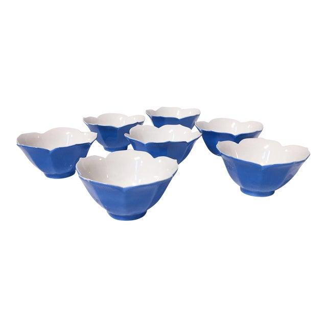Mid-Century Blue Lotus Leaf Serving Bowls - Set of 7 - Image 1 of 6