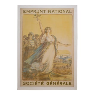 "Antique French ""Societe General"" Poster C.1920 For Sale"