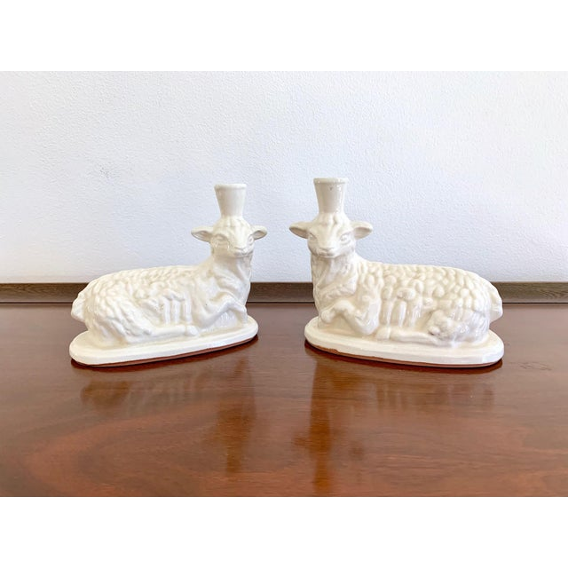 White Terracotta Vintage Lamb Candle Holders - a Pair For Sale - Image 4 of 7