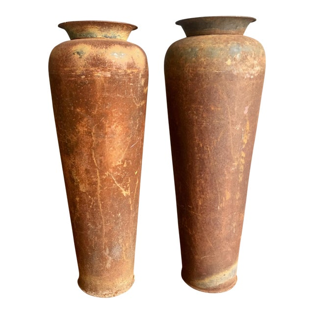 Tall Vintage Metal Urns - A Pair For Sale