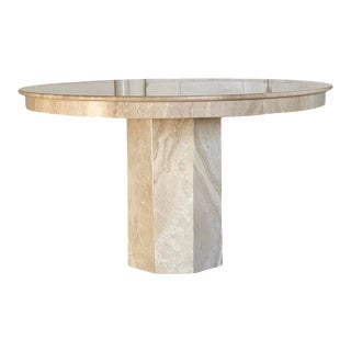 1970s Round Travertine Dining Table For Sale