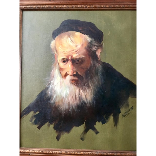 """Baroque Vintage Rennaisance Baroque Replica Rembrandt """"Head of an Old Man in a Cap"""" Oil Painting For Sale - Image 3 of 8"""