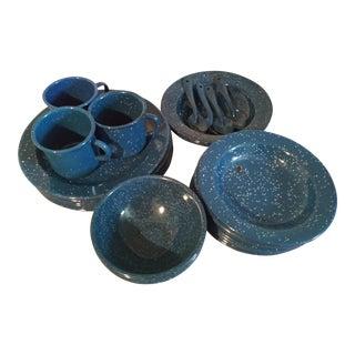 Vintage Blue Granitewear Enamelware Dishes For Sale