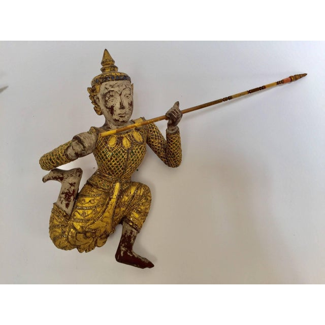 Pair of Thai Figures of Siamese Dancers Sculpture Wood With Gold For Sale In Los Angeles - Image 6 of 11
