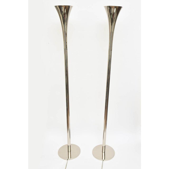 These midcentury sculptural nickel silver torcheres/ floor lamps are by the Laurel Lamp Co. They have been restored and...