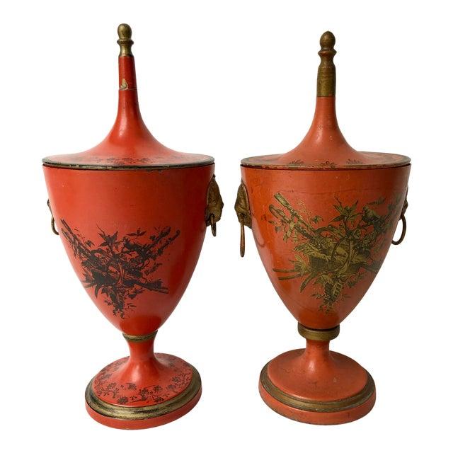 Italian Vintage, C.1950 Red Tole Lidded Urns, A-Set For Sale