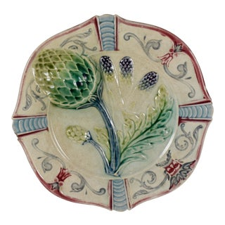 Fives-Lille Majolica Artichoke & Asparagus Scroll Rim Plate, Circa 1890 For Sale