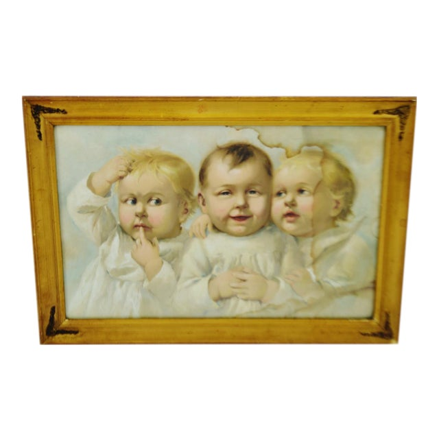 Early Gesso Framed Print of Three Babies - Image 1 of 8