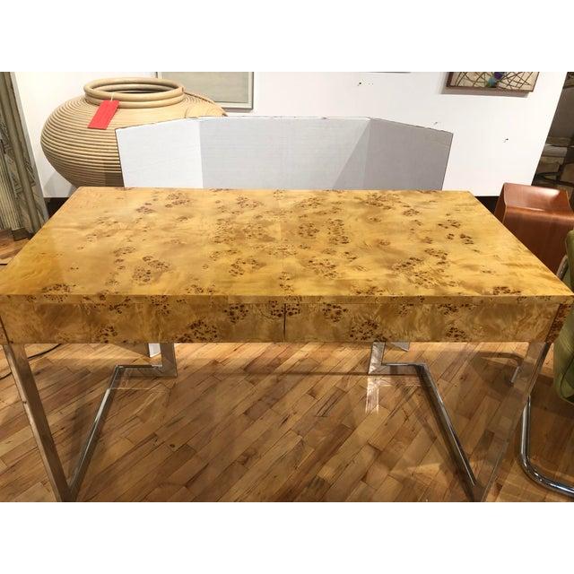 Milo Baughman Mid-Century Burlwood Desk by Milo Baughman For Sale - Image 4 of 6