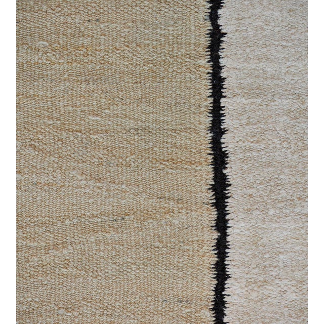 MANSOUR 1930s Handwoven Wool Vertical Striped Deco Rug For Sale - Image 4 of 8