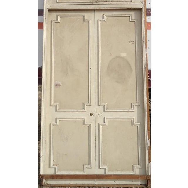 Antique White Geometric Design & Solid Header Transom Doors - A Pair - Image 3 of 10