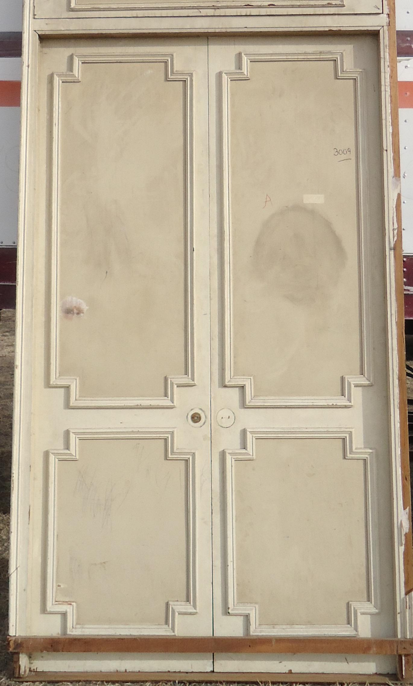 Antique White Geometric Design u0026 Solid Header Transom Doors - A Pair - Image 3 of  sc 1 st  Chairish & Antique White Geometric Design u0026 Solid Header Transom Doors - A Pair ...