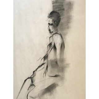 Vintage Figurative Charcoal Drawing For Sale
