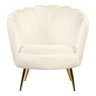 Acovet White Faux Fur Tufted Tub Chair in White For Sale