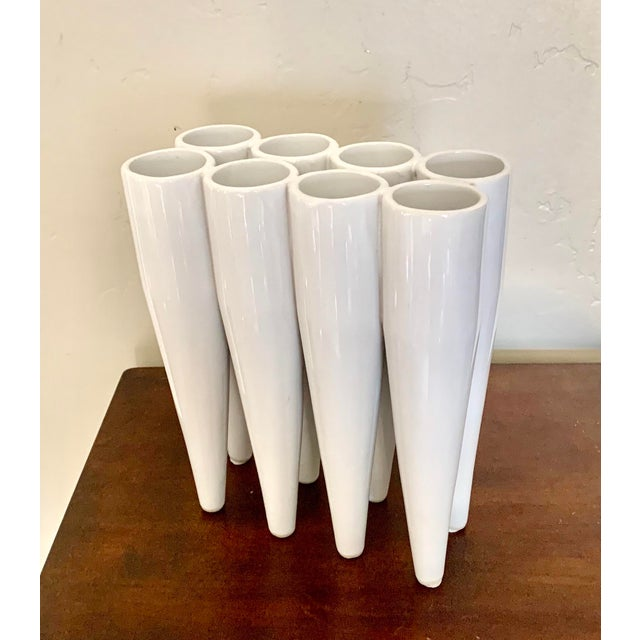 Modern Contemporary White Glaze 8-Section Ceramic Vase For Sale In San Diego - Image 6 of 6