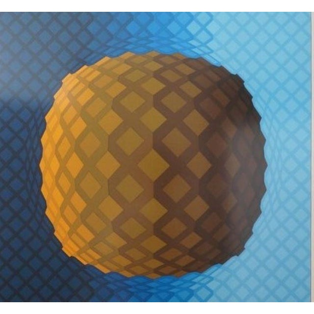 Victor Vasarely Vintage Vasarely Pencil Signed and Numbered Limited Edition 226/250 Op Art Original Print Custom Mirror Framed For Sale - Image 4 of 12