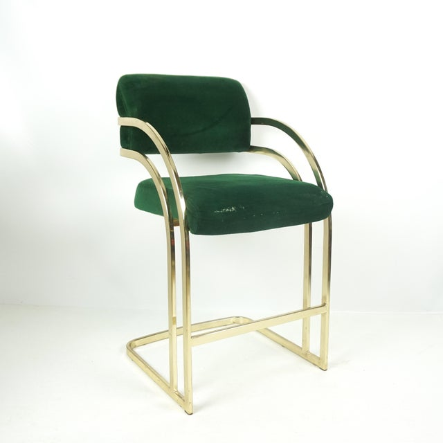 Comtemporary Shell Brass Cantilever Bar Stools - a Pair For Sale In Pittsburgh - Image 6 of 11