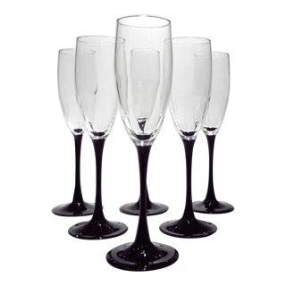 Vintage French Black Amethyst Aubergine Champagne Flutes - Set of 6 For Sale