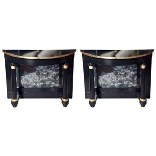 Ebonized Pier Demilune Tables - A Pair For Sale