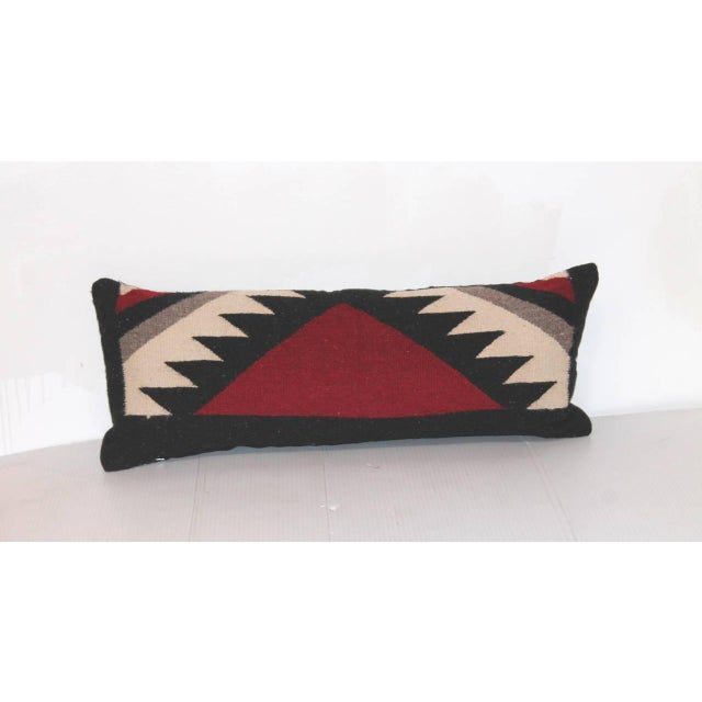 Native American Pair of Navajo Indian Weaving Kidney Pillows For Sale - Image 3 of 4