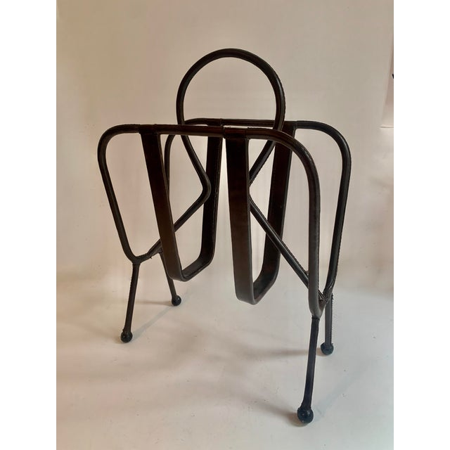 1940s Jacques Adnet Leather Magazine Rack For Sale - Image 5 of 11