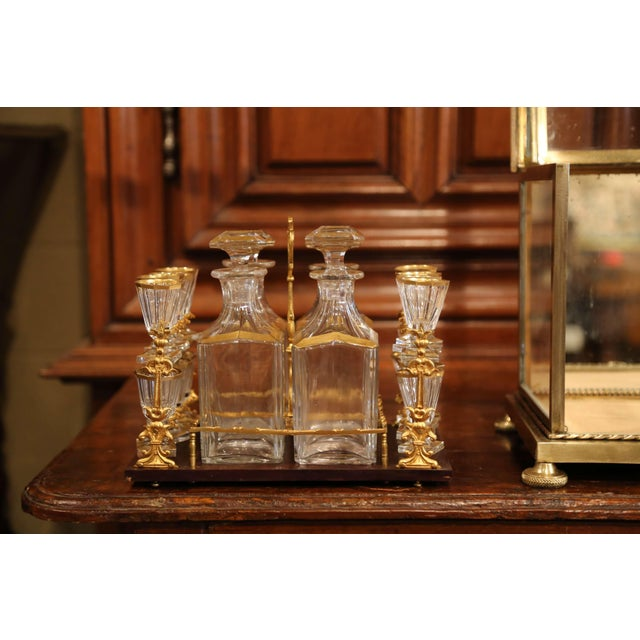 19th Century French Napoleon III Gilt Bronze and Glass Complete Cave a Liqueur For Sale - Image 10 of 11