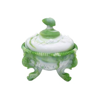 19th-C Victorian Slag Glass Bon Bon Dish For Sale