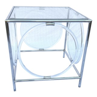 Square Glass & Stainless Steel Side Table