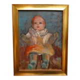 Image of 1933 Vintage Anders Aldrin Mary Vincent's Doll Framed Painting For Sale