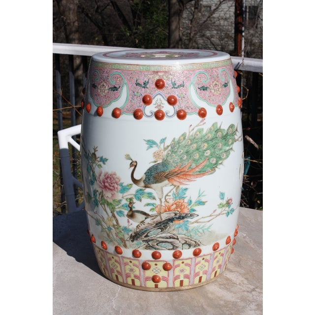 Chinese Famille Rose Porcelain Peacock Garden Seat For Sale - Image 13 of 13