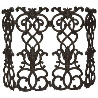 Victorian Cast Iron Fireplace Screen For Sale