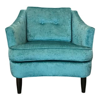 Teal Reupholstered Vintage Lounge Chair For Sale