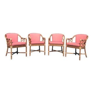 Late 20th Century McGuire Rattan Leather Wrapped Armchairs- Set of 4 For Sale