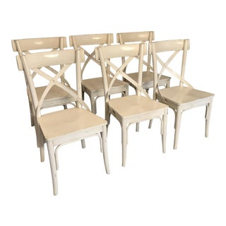 Modern White French Provincial Dining Chairs - Set of 6 For Sale