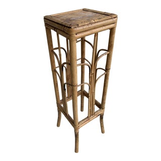 Vintage Boho Chic Bamboo Plant Stand For Sale